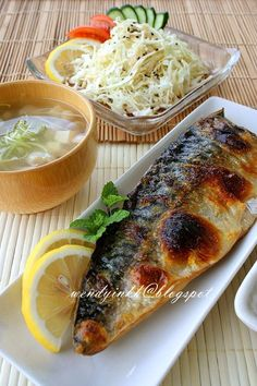 Table for or more: Saba Shio @ Salt Grilled Mackerel - Easy Japanese Fare . - dinner for 2 - Mackerel Salted Mackerel Recipe, Mackerel Recipes, Saba Fish Recipe, Saba Recipe, Mackerel Fish, Fish Recipes, Seafood Recipes, Asian Food Recipes, Garden Design