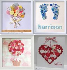 Button Art A Super Cute Craft You'll Love Buttons ideas for my work! MoreThe Craft The Craft may refer to: Cute Crafts, Creative Crafts, Diy And Crafts, Crafts For Kids, Arts And Crafts, Paper Crafts, Cuadros Diy, Button Cards, Button Button