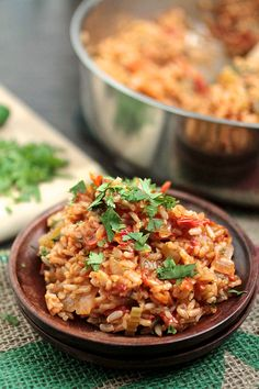 Spicy Vegan Jambalaya (made this today; delicious!)  To make it even quicker, I used a steamable bag of brown rice; can of diced tomatoes; about a cup of veggie broth in the recipe.  Yummmmmmmm