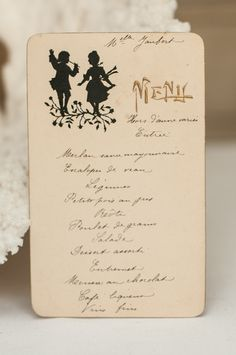 French handwritten menu, c. 1900.