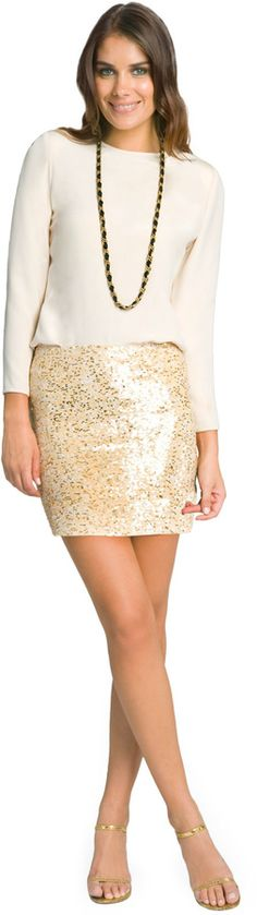 Haute Hippie Glam Nude Sequin Skirt