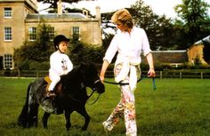 Diana leading William on a pony at Highgrove.
