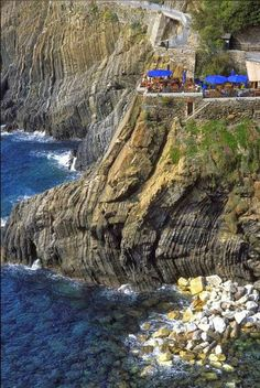 Cliff-side cafe, Cinque Terre, Italy