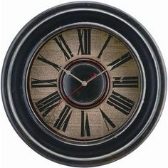 "Distressed black wall clock with newspaper backing and Roman numerals.    Product: ClockConstruction Material: Copper, wood, and glassColor: Distressed blackAccommodates: Batteries not included Dimensions: 16"" Diameter"