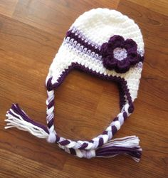 Crocheted Baby Girl Ear Flap Hat with Braided Ties and Flower ~ White, Plum Purple & Lavender ~ Baby Gift ~ Newborn to 5T ~ MADE to ORDER by KaraAndMollysKids on Etsy