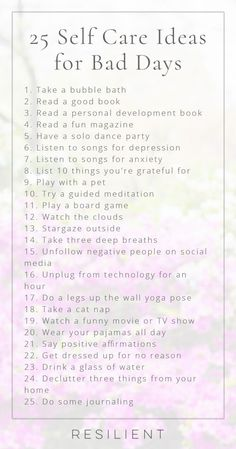 When bad days strike, it's nice to have a list of self care ideas you can pull o. - When bad days strike, it's nice to have a list of self care ideas you can pull o. When bad days strike, it's nice to have a list of self care ideas . Songs For Anxiety, Self Help For Anxiety, Depressing Songs, Motivation, Personal Development Books, You Wake Up, Self Care Routine, Gym Routine, Daily Routines