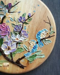 Add some life ^_^ Lovely blue birds Paint with buttercream. Buttercream Cake Decorating, Buttercream Flowers, Acrylic Painting Flowers, Acrylic Art, Whipped Cream Cakes, Decorator Frosting, Amazing Wedding Cakes, Sculpture Painting, Palette Knife Painting