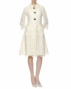 Dolce & Gabbana Silver Ball-Buttoned Macrame Lace Coat...only $6275.