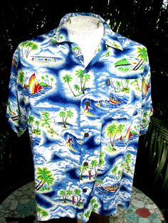 7f2db5fb Hawaiian ALOHA shirt M 24 pit to pit PINEAPPLE CONNECTION rayon luau surfing  #PineappleConnection #