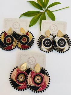Handmade Rounded Earrings - Beaded Earrings - Handmade Artisan Jewelry - Lightweight Earrings - Gifts for Women - Multicolor Earrings Bead Embroidery Jewelry, Beaded Embroidery, Bead Jewellery, Beaded Jewelry, Leather Jewelry, Handmade Bracelets, Earrings Handmade, Handmade Books, Handmade Notebook