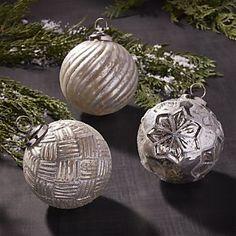Antiqued Glass Glitter Ball Ornaments