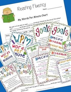 Teach your students how to set appropriate goals for themselves! This package includes: goal setting posters posters on words per minute (WPM) poster on reading comprehension poster on reading fluency word per minute chart Reading Help, Reading Skills, Teaching Reading, Fun Learning, Visible Learning, Reading Charts, Reading Goals, Reading Resources, Reading Activities