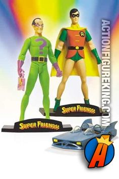 6-inch scale Super Friends Robin and The Riddler action figures with mini Batmobile from DC Direct.