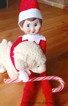 """Elf on the Shelf Ideas Ninnin has been listening to """"While Shepherds Watched their flocks by night"""". She is working hard to perfect her Shepherdess skills."""
