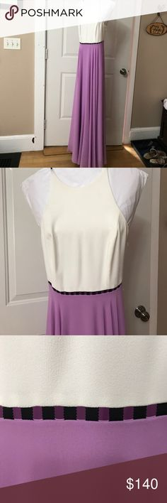 Dress Cream on top a black across the middle and lilac on the bottom.  The dress also flows on the bottom.  Worn only once. Halston Heritage Dresses