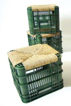 Wood crate + twine rope = cool stool