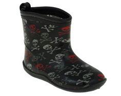 Capelli New York Shiny Fun Skulls Toddler Boys  Rain Boot