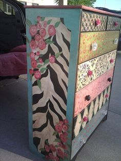 hand painted whimsical chest
