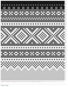 """Xs & Square-Os"" - Norwegian pattern / (SW: Run lighter, tone-on-tone color through middle of main pattern) Fair Isle Knitting Patterns, Fair Isle Pattern, Crochet Stitches Patterns, Knitting Charts, Sweater Knitting Patterns, Zentangle Patterns, Loom Knitting, Knitting Stitches, Crochet Designs"