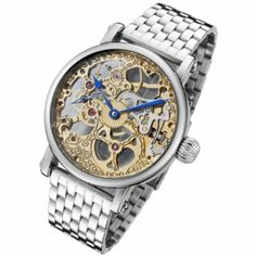 Rougois Mechanique Two Tone Skeleton Watch Polished Stainless Steel Band: Watches: Amazon.com