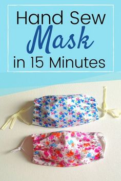 Learn how to hand sew a face mask in just 15 minutes. This FREE DIY sewing tutorial comes with instructions that makes it easy for any beginner. All you need are two fabric scraps a small piece of elastic or t- shirt scraps ( for ties). #DIYfacemask #facemasksewingpattern #facemaskdiysewing #diyhandsewnfacemask #howtosewfacemaskbyhand