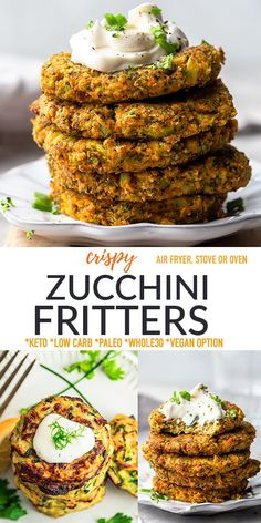 TheseZucchini Frittersare crispy, delicious and so easy to make using summer zucchini, almond flour, fresh herbs and seasonings and include instructions for the stove, air fryer and oven. They make a tasty low carb snack or lunch and the perfect way to use up your garden veggies. Freezer-friendly, gluten-free, keto, grain-free, dairy-free plus options for paleo, Whole30 and vegan. Easy Appetizer Recipes, Veggie Recipes, Paleo Recipes, Snack Recipes, Dinner Recipes, Appetizers, Easy Party Food, Zucchini Fritters, Side Dishes Easy