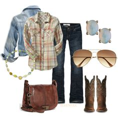 Plaid shirt with boots, jeans, and denim jacket.