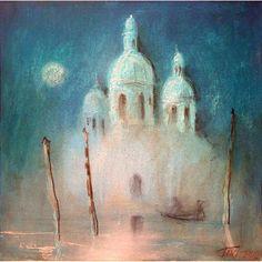 Moon Venice, oil on canvas, 40 x 40 cm, by Todor  Ignatov - Tony  http://buyart.tonyignatov.eu/