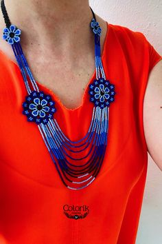 Diy Necklace, Jewelry Necklaces, Collar Floral, Huichol Art, Mexican Jewelry, Loom Bands, Mandala, Etsy, Flower Necklace