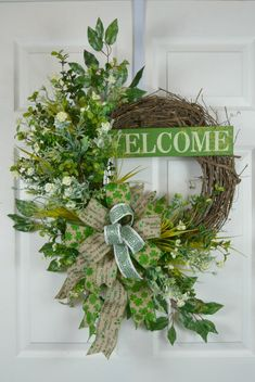 Welcome St Patrick's Day Wreath. A gorgeous St Patrick's Day wreath to welcome your guests. We decorated our grapevine wreath...