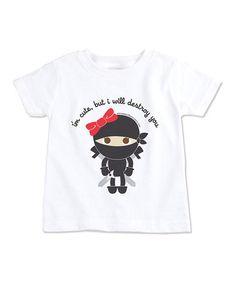Look at this #zulilyfind! White 'I'm Cute' Girl Ninja Short-Sleeve Tee - Toddler by Paperflavor #zulilyfinds