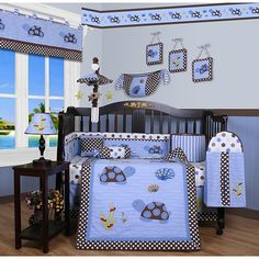 Decorate the nursery in a sea turtle theme with this cute crib bedding set by Geeny. The polyester-cotton blend is durable and will keep baby warm. The set includes everything from a bumper to pillows, so there is no need to shop for separate pieces.