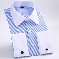 Good price new cufflinks shirt  Nail sleeve  hot Brand  Men's Striped Formal wedding dress brand long sleeve shirts men plus size S5xl 6xl just only $13.15 with free shipping worldwide  #shirtsformen Plese click on picture to see our special price for you