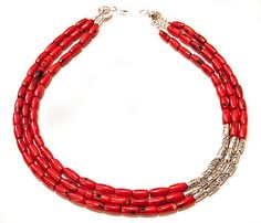 Red Coral Necklace 18'' Genuine Coral Necklace 3 Strands coral jewelry Red Silver White Black. $30.00, via Etsy.