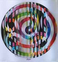 Yaacov Agam, Festival available at Yaacov Agam, Operation Christmas Child, Painting Lessons, Op Art, Geometric Shapes, Art Tutorials, Colored Pencils, Circles, Paper Art