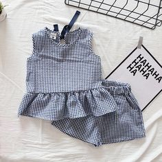 Check out my new Pretty Plaid Ruffle Tank Top and Shorts Set for Baby Girl and Girl, snagged at a crazy discounted price with the PatPat app. pretty girl Daily Deals For Moms Sewing For Kids, Baby Sewing, Sewing Ideas, Sewing Art, Dresses Kids Girl, Girl Outfits, Fashion Outfits, Baby Girl Fashion, Kids Fashion