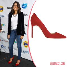 Nikki Reed in Manolo Blahnik Red Suede BB Pumps - ShoeRazzi