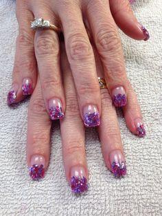 Pink and purple mylar nails by Shannon Chomanczuk