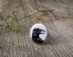 Animal ring Raven Crow Portrait black and by AbraKadabraJewelry
