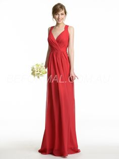 Beformal.com.au SUPPLIES Red A-line Winter V-Neck Natural Zipper-up All Sizes Wedding Party Dress Cheap Bridesmaid Dresses