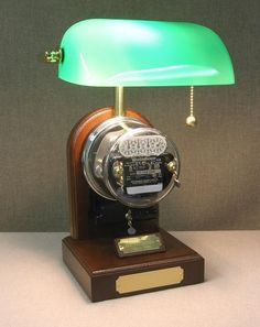 electric meter repurposed as a desk lamp -- watch the meter slowly rotate and click off the watts used when lamp is turned on Room Lamp, Desk Lamp, Industrial Lighting, Cool Lighting, Lamp Light, Light Up, Steampunk Lamp, Pipe Lamp, Metal Art