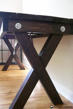 How to build cross leg desk free plans to build an x leg for Cross leg table plans