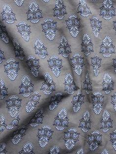 Kashish Ivory Blue Hand Block Printed Cotton Fabric Per Meter - F001F988