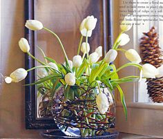 Tulip arrangement with pussy willow branches