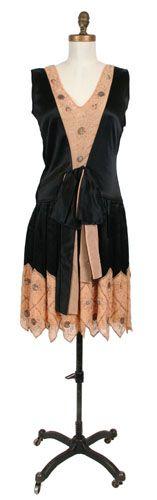 Dress, evening (woman's) c. 1926 Plain weave; Satin weave; Beaded Silk satin; Crepe chiffon; Silk taffeta; Beads and beadwork; Sequins; Beads (bugle) TC 83.10-194