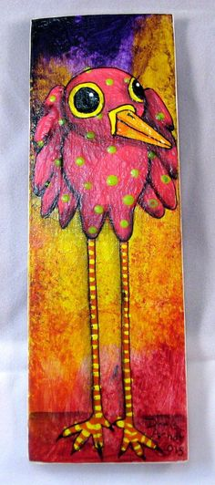Pink Whimsical Bird by PhantomWhispers on Etsy