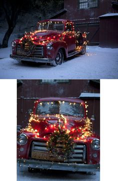 this rocks. old truck deco'd for Christmas