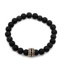 Black Stainless Steel/Lava Beaded Bracelet