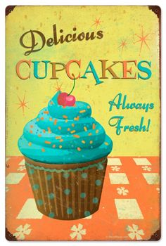 $58.97 Retro Cupcake Delicious Tin Sign 16 x 24 Inches.     From the Retro Planet licensed collection, this Cupcake Delicious vintage metal sign measures 16 inches by 24 inches and weighs in at 4 lb(s). This vintage metal sign is hand made in the USA using heavy gauge american steel and a process known as sublimation, where the image is baked into a powder coating for a durable and long lasting finish. It then undergoes a vintaging process by hand to give it an aged look and feel. This…