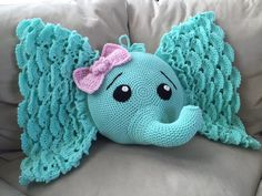 Look at this beautiful Josefina Elephant pillow, what a gorgeous color! Made by Penny from  Ami Hooked, using our newest pattern.  Crochet pattern from: https://irarott.com/Elephant_Pillow_Crochet_Pattern.html